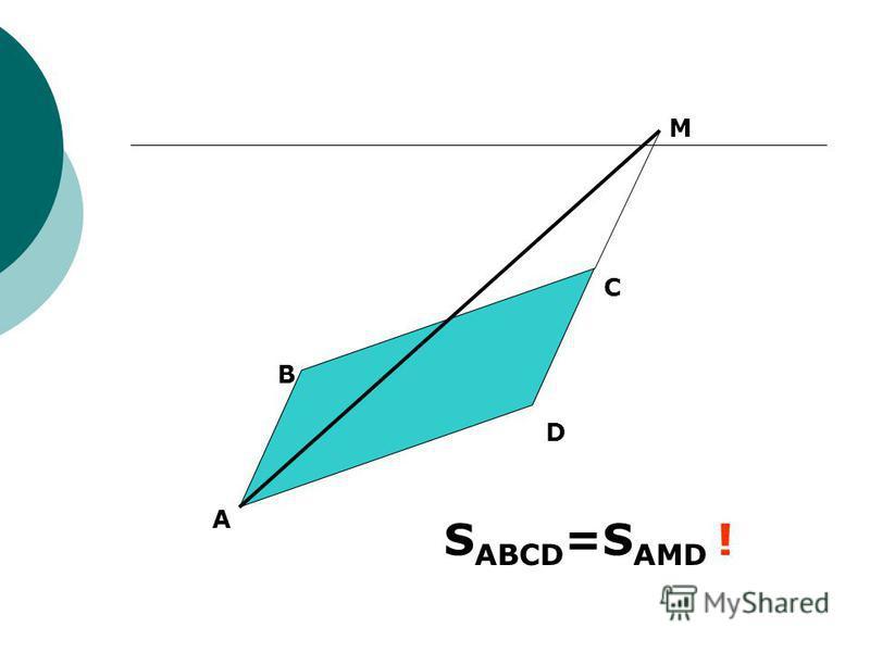 A B C D M S ABCD =S AMD !