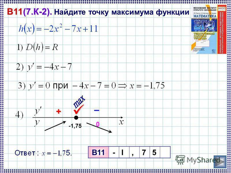 – + 0 B11(7.К-2). B11(7.К-2). Найдите точку максимума функции -1,75 B11-I,75