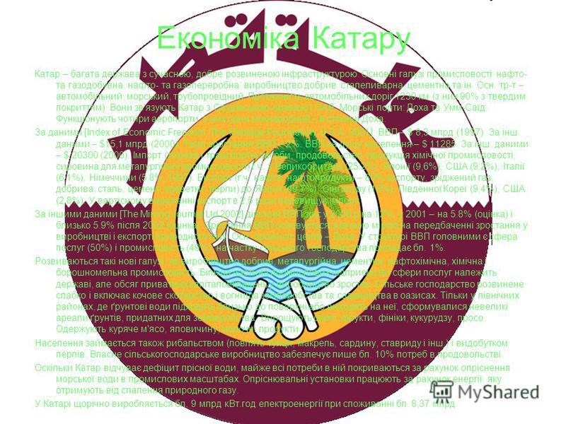 Економіка Катару Катар – багата держава з сучасною, добре розвиненою інфраструктурою. Основні галузі промисловості: нафто- та газодобувна, нафто- та газопереробна, виробництво добрив, сталеливарна, цементна та ін. Осн. тр-т – автомобільний, морський,