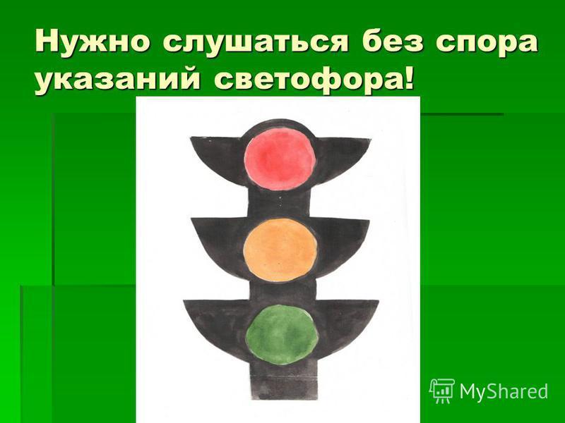 Нужно слушаться без спора указаний светофора!