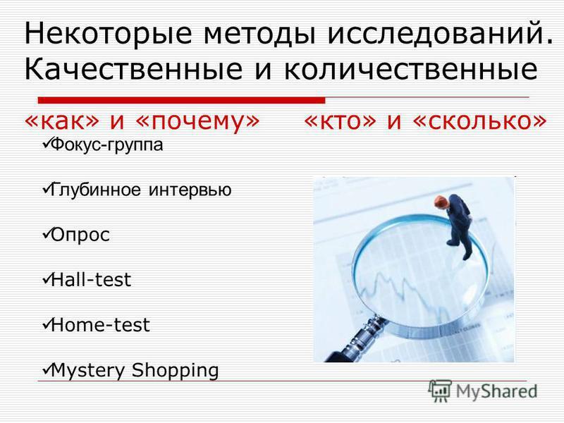 Некоторые методы исследований. Качественные и количественные «как» и «почему» Фокус-группа Глубинное интервью Опрос Hall-test Home-test Mystery Shopping «кто» и «сколько»