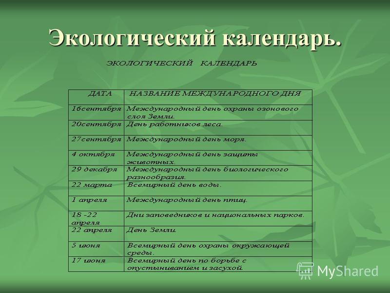 Экологический календарь.