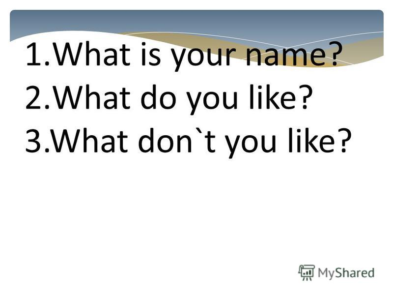 1.What is your name? 2.What do you like? 3.What don`t you like?