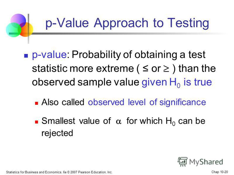 Statistics for Business and Economics, 6e © 2007 Pearson Education, Inc. Chap 10-20 p-Value Approach to Testing p-value: Probability of obtaining a test statistic more extreme ( or ) than the observed sample value given H 0 is true Also called observ