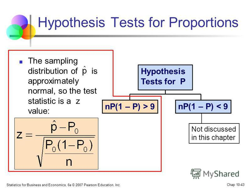 Statistics for Business and Economics, 6e © 2007 Pearson Education, Inc. Chap 10-43 The sampling distribution of is approximately normal, so the test statistic is a z value: Hypothesis Tests for Proportions nP(1 – P) > 9 Hypothesis Tests for P Not di