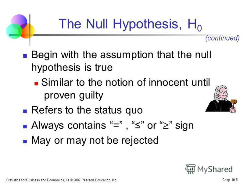 Statistics for Business and Economics, 6e © 2007 Pearson Education, Inc. Chap 10-5 The Null Hypothesis, H 0 Begin with the assumption that the null hypothesis is true Similar to the notion of innocent until proven guilty Refers to the status quo Alwa