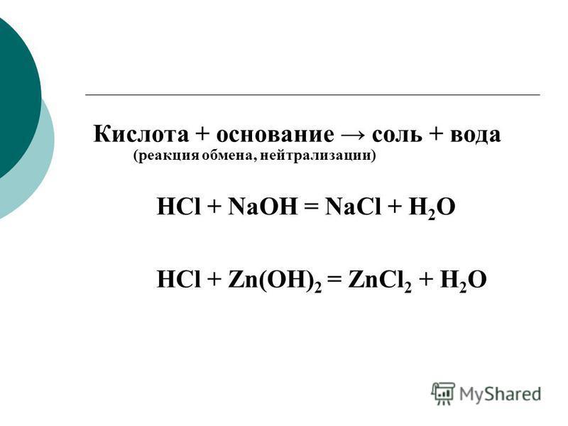 Кислота + основание соль + вода HCl + NaOH = NaCl + H 2 O HCl + Zn(OH) 2 = ZnCl 2 + H 2 O (реакция обмена, нейтрализации)