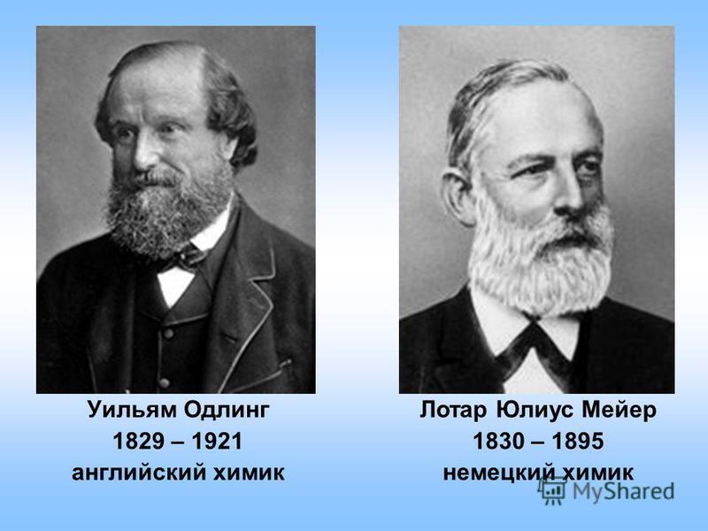 Уильям Одлинг 1829 – 1921 английский химик Лотар Юлиус Мейер 1830 – 1895 немецкий химик