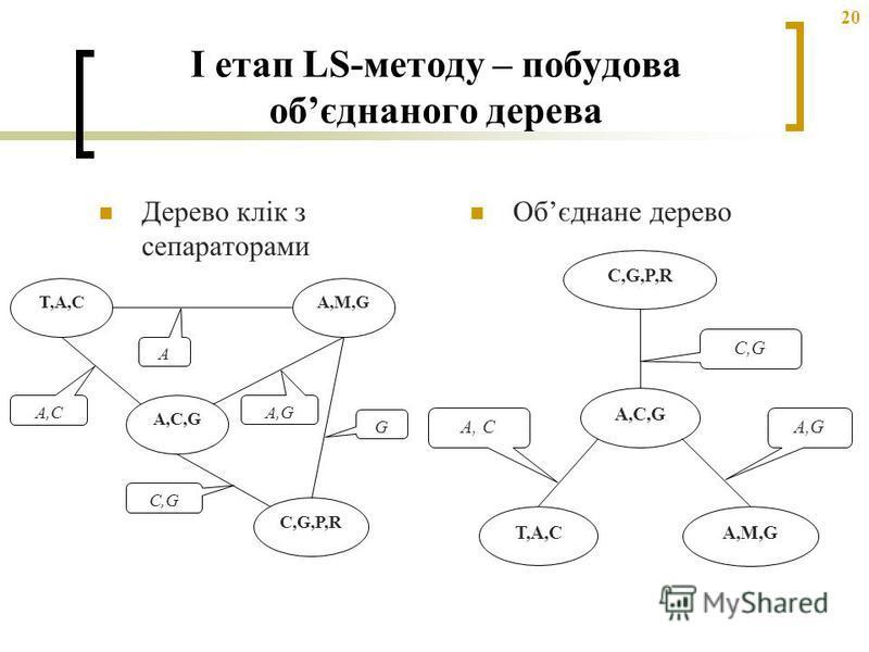 20 I етап LS-методу – побудова обєднаного дерева Дерево клік з сепараторами Обєднане дерево T,A,CT,A,C A,M,G A,C,G C,G,P,R A A,C C,G G A,G T,A,CT,A,C A,M,G A,C,G C,G,P,R A, C C,G A,G