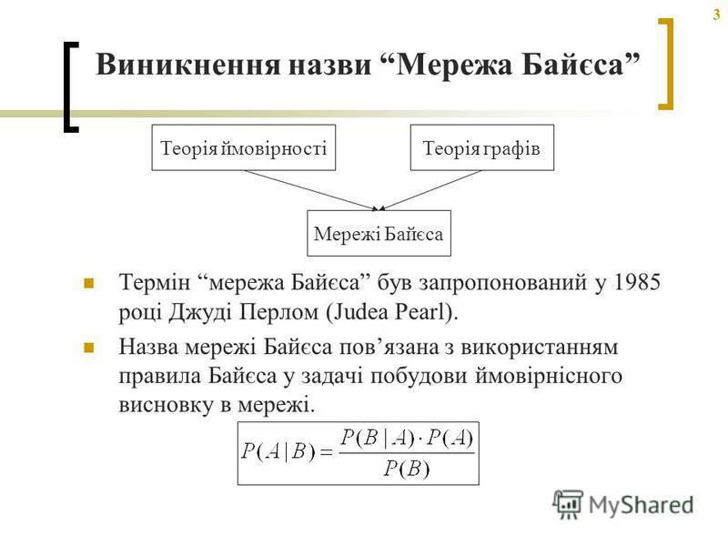 3 Виникнення назви Мережа Байєса Термін мережа Байєса був запропонований у 1985 році Джуді Перлом (Judea Pearl). Назва мережі Байєса повязана з використанням правила Байєса у задачі побудови ймовірнісного висновку в мережі. Теорія ймовірностіТеорія г