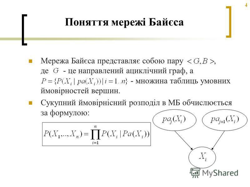 4 Поняття мережі Байєса Мережа Байєса представляє собою пару, де - це направлений ациклічний граф, а - множина таблиць умовних ймовірностей вершин. Сукупний ймовірнісний розподіл в МБ обчислюється за формулою: