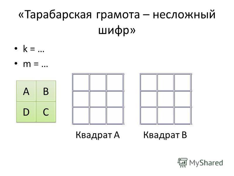 «Тарабарская грамота – несложный шифр» k = … m = … Квадрат AКвадрат B