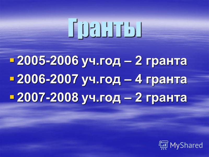 Гранты 2005-2006 уч.год – 2 гранта 2005-2006 уч.год – 2 гранта 2006-2007 уч.год – 4 гранта 2006-2007 уч.год – 4 гранта 2007-2008 уч.год – 2 гранта 2007-2008 уч.год – 2 гранта