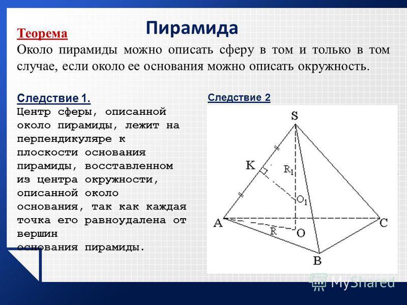 Пирамида Теорема Около пирамиды можно описать сферу в том и только в том случае, если около ее основания можно описать окружность. Следствие 1. Центр сферы, описанной около пирамиды, лежит на перпендикуляре к плоскости основания пирамиды, восставленн