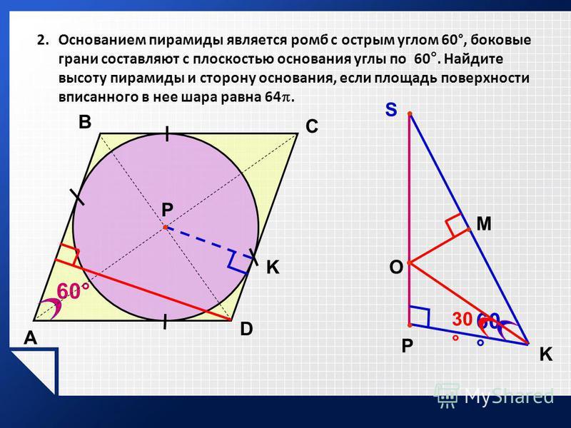 2. Основанием пирамиды является ромб с острым углом 60°, боковые грани составляют с плоскостью основания углы по 60°. Найдите высоту пирамиды и сторону основания, если площадь поверхности вписанного в нее шара равна 64. A P K 60° C B D P K S М О 30 °