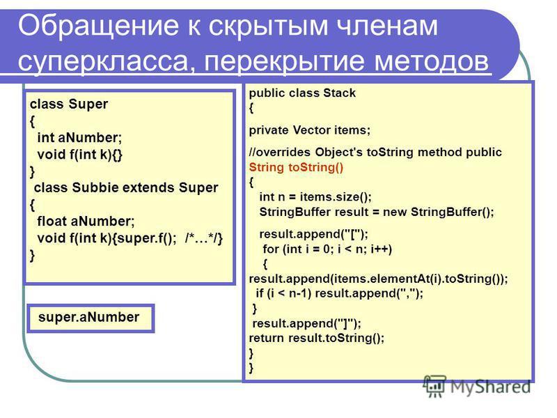 Обращение к скрытым членам суперкласса, перекрытие методов class Super { int aNumber; void f(int k){} } class Subbie extends Super { float aNumber; void f(int k){super.f(); /*…*/} } super.aNumber public class Stack { private Vector items; //overrides