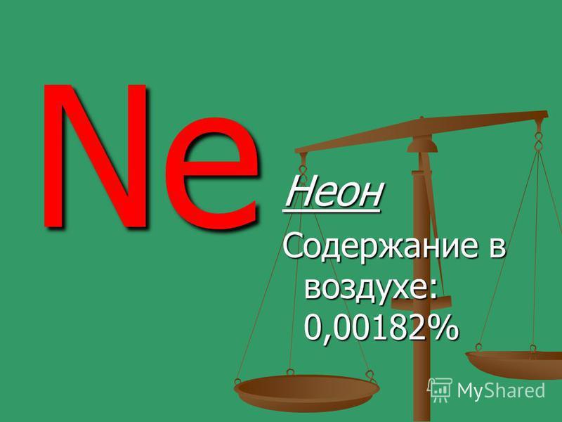 Ne Неон Содержание в воздухе: 0,00182%
