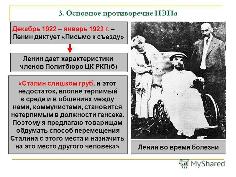 3. Основное противоречие НЭПа Декабрь 1922 – январь 1923 г. – Ленин диктует «Письмо к съезду» Ленин дает характеристики членов Политбюро ЦК РКП(б) «Сталин слишком груб, и этот недостаток, вполне терпимый в среде и в общениях между нами, коммунистами,