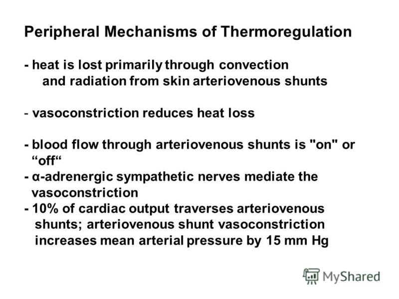 Peripheral Mechanisms of Thermoregulation - heat is lost primarily through convection and radiation from skin arteriovenous shunts - vasoconstriction reduces heat loss - blood flow through arteriovenous shunts is
