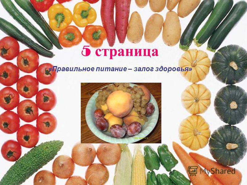 5 страница «Правильное питание – залог здоровья»