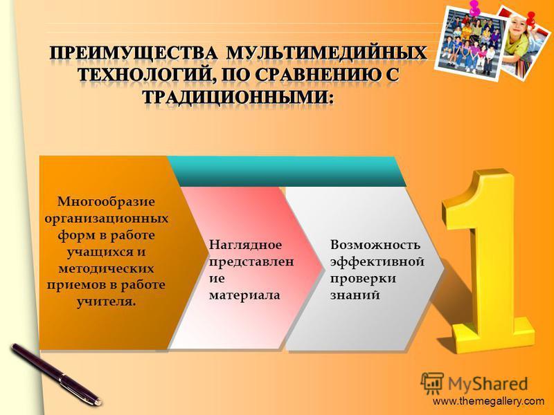 www.themegallery.com Многообразие организационных форм в работе учащихся и методических приемов в работе учителя. Наглядное представлен ие материала Возможность эффективной проверки знаний