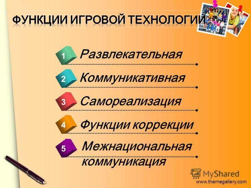 www.themegallery.com 4 1 2 3 5 Межнациональная коммуникация Развлекательная Коммуникативная Самореализация Функции коррекции