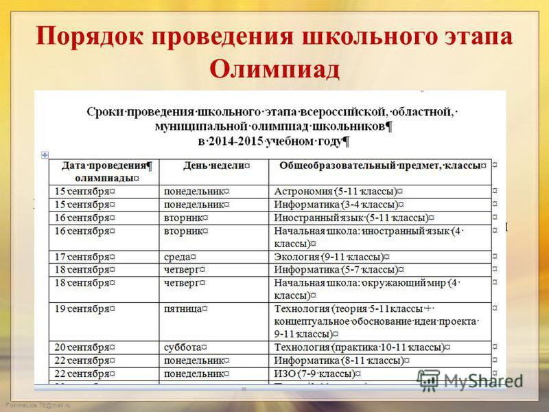FokinaLida.75@mail.ru Порядок проведения школьного этапа Олимпиад 1. Участниками Олимпиад могут быть только те обучающиеся, которые занесены в базу данных и родители которых дали согласие на обработку персональных данных. 2. Олимпиады проводятся в ус