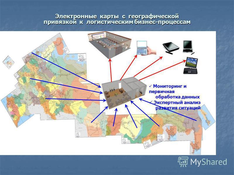 Электронные карты с географической привязкой к логистическим бизнес-процессам Мониторинг и первичная обработка данных Экспертный анализ развития ситуаций
