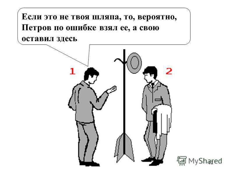 12 Если это не твоя шляпа, то, вероятно, Петров по ошибке взял ее, а свою оставил здесь
