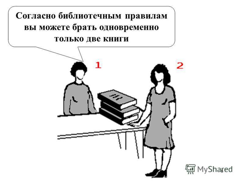 6 Согласно библиотечным правилам вы можете брать одновременно только две книги