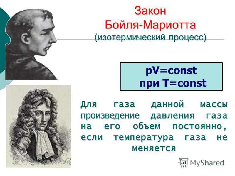Закон Бойля-Мариотта (изотермический процесс) Для газа данной массы произведение давления газа на его объем постоянно, если температура газа не меняется pV=const при T=const