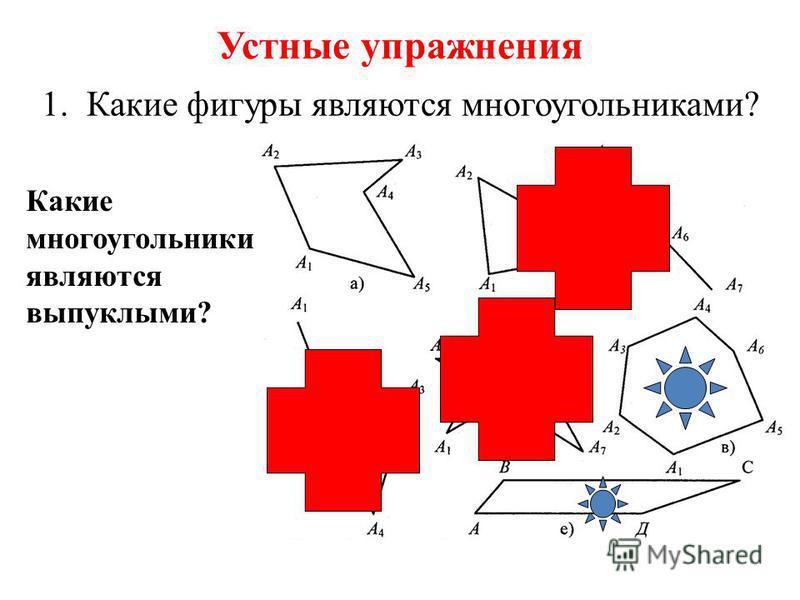 Устные упражнения 1. Какие фигуры являются многоугольниками? Какие многоугольники являются выпуклыми?