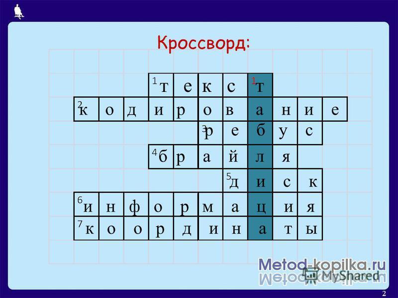 2 Кроссворд: т е к с т к о д и р о в а н и е р е б у с брайля д и с к и н ф о р м а ц и я к о о р д и н а т ы