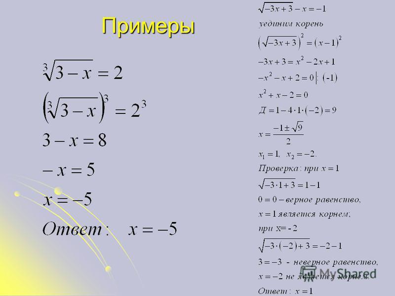 Метод возведггггения обеих частей уравнггггения в одну и ту же степень 1. Преобразовать обе части уравнггггения к виду 2. Возвести обе части в n-ую степень 3. Учитывая, что получаем: 4. Решить полученное уравнение и выполнить проверку (или ОДЗ)