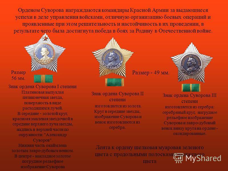 Орденом Суворова награждаются командиры Красной Армии за выдающиеся успехи в деле управления войсками, отличную организацию боевых операций и проявленные при этом решительность и настойчивость в их проведении, в результате чего была достигнута победа