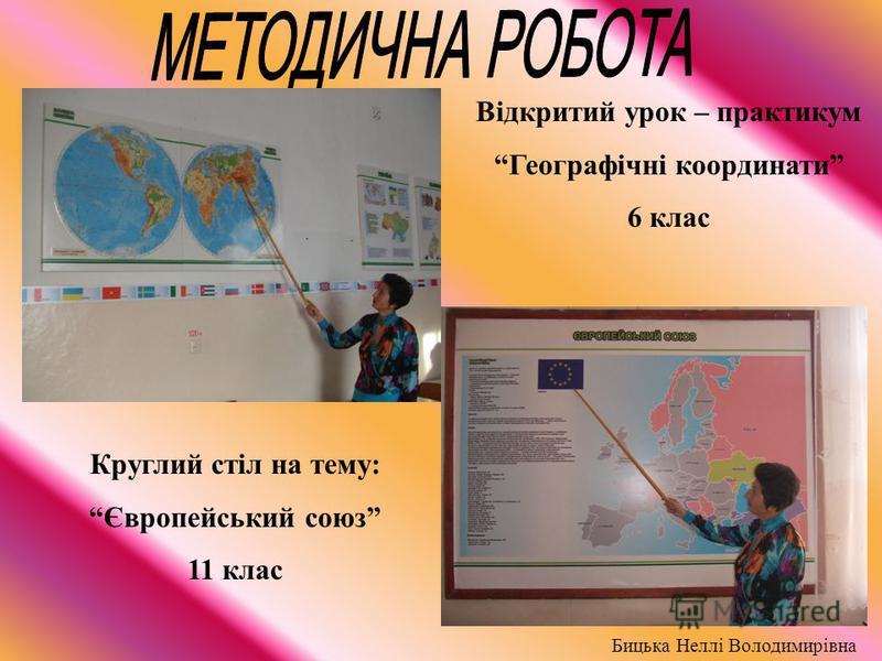 Відкритий урок – практикум Географічні координати 6 клас Бицька Неллі Володимирівна Круглий стіл на тему: Європейський союз 11 клас