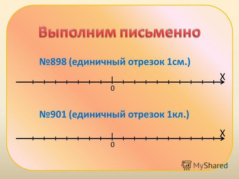 898 (единичный отрезок 1 см.) Х 0 Х 0 901 (единичный отрезок 1 кл.)