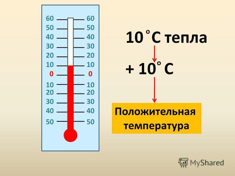 00 20 10 20 30 40 50 10 C тепла + 10 C о о Положительная температура 60606060 50