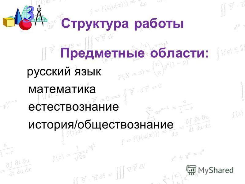 Структура работы Предметные области: русский язык математика естествознание история/обществознание