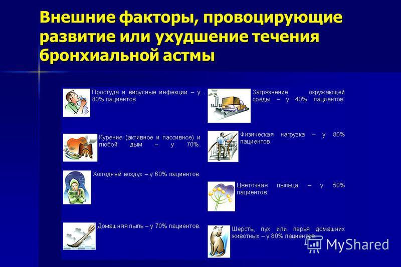 Внешние факторы, провоцирующие развитие или ухудшение течения бронхиальной астмы