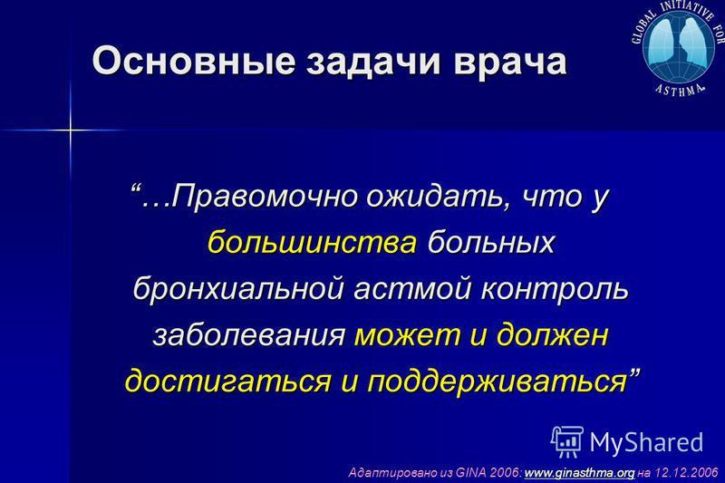 Основные задачи врача …Правомочно ожидать, что у большинства больных бронхиальной астмой контроль заболевания может и должен достигаться и поддерживаться Адаптировано из GINA 2006: www.ginasthma.org на 12.12.2006www.ginasthma.org