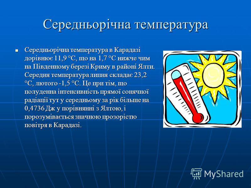 Середньорічна температура Середньорічна температура в Карадазі дорівнює 11,9 °С, що на 1,7 °С нижче чим на Південному березі Криму в районі Ялти. Середня температура липня складає 23,2 °С, лютого -1,5 °С. Це при тім, що полуденна інтенсивність прямої
