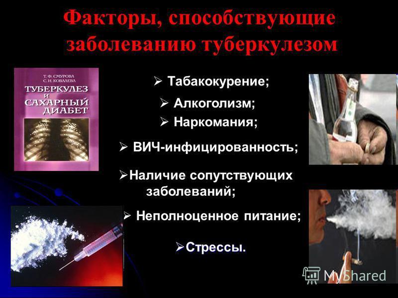 Факторы, способствующие заболеванию туберкулезом Табакокурение; Алкоголизм; Наркомания; ВИЧ-инфицированность; Наличие сопутствующих заболеваний; Неполноценное питание; Стрессы. Стрессы.