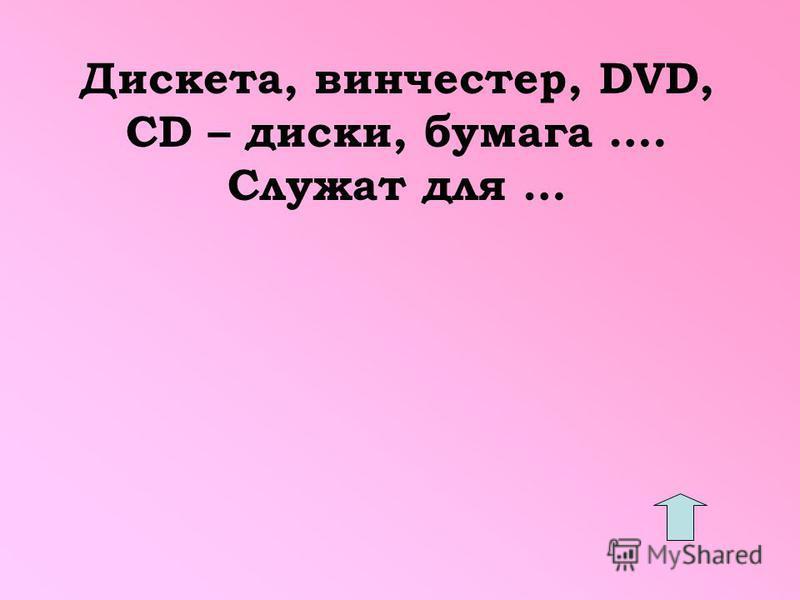 Дискета, винчестер, DVD, CD – диски, бумага …. Служат для …
