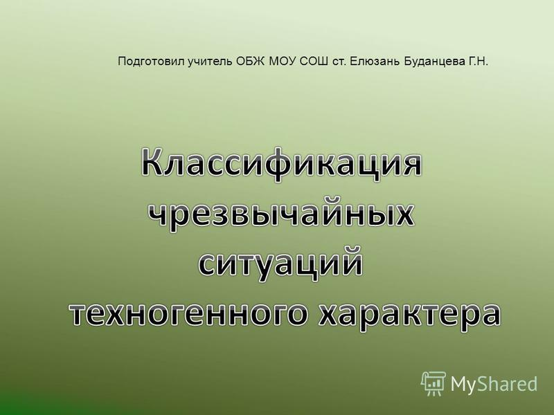Подготовил учитель ОБЖ МОУ СОШ ст. Елюзань Буданцева Г.Н.