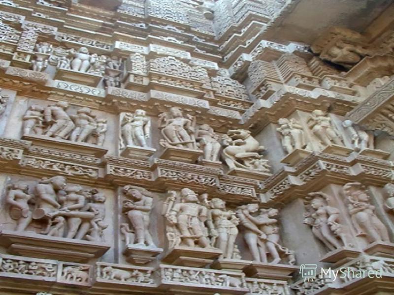 Храмы многоступенчаты – в них символически передана идея постепенного восхождения к небу. С конца 8 века господствующую роль стали играть наземные каменные храмы. Храмы состоят из трех частей: Колонный зал - МАНДАПА -крытая галерея для молящихся -Зак