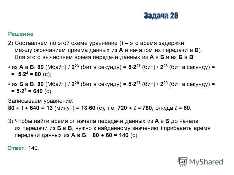 Задача 28 Решение 2) Составляем по этой схеме уравнение (t – это время задержки между окончанием приема данных из А и началом их передачи в В). Для этого вычисляем время передачи данных из А в Б и из Б в В: из А в Б: 80 (Мбайт) / 2 23 (бит в секунду)