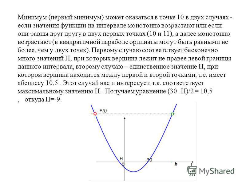 Минимум (первый минимум) может оказаться в точке 10 в двух случаях - если значения функции на интервале монотонно возрастают или если они равны друг другу в двух первых точках (10 и 11), а далее монотонно возрастают (в квадратичной параболе ординаты