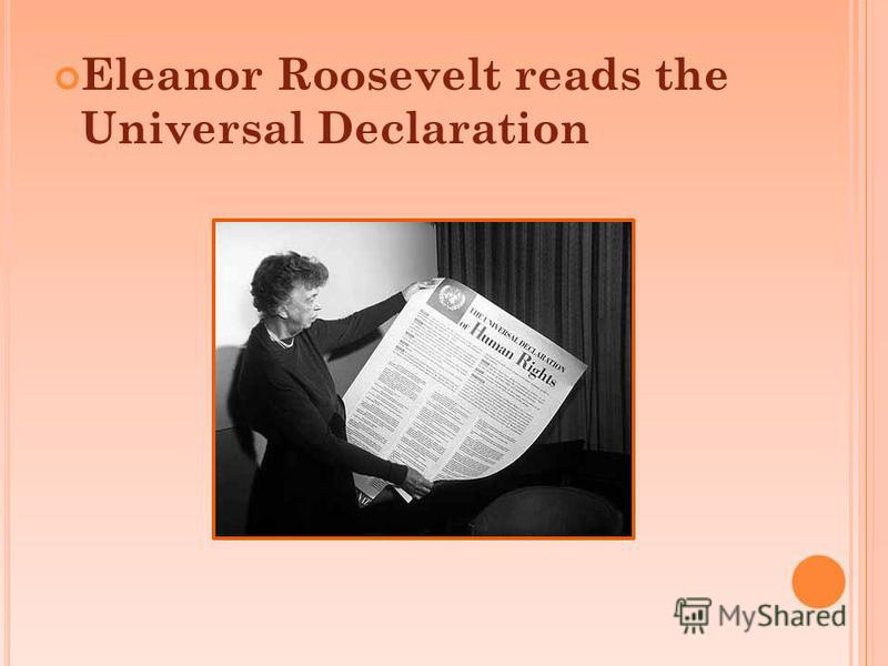 Eleanor Roosevelt reads the Universal Declaration