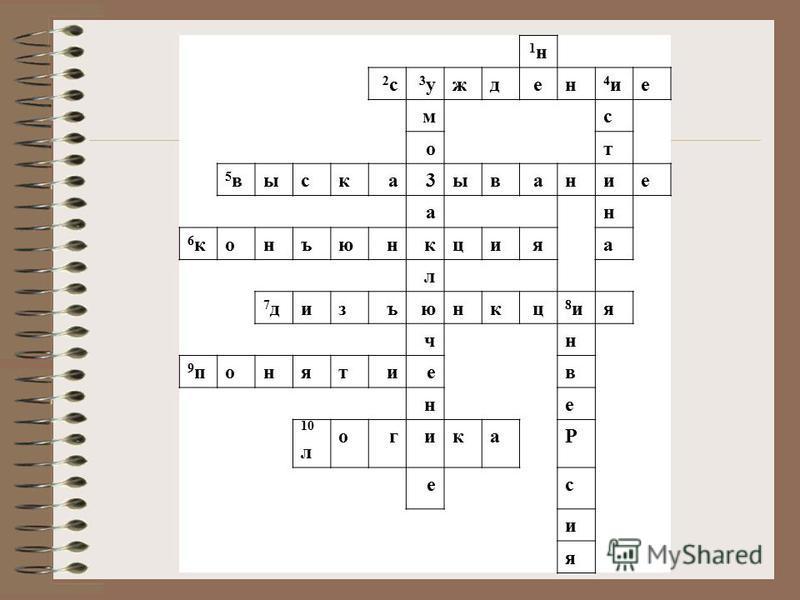 1 н 1 н 2 с 2 с 3 у 3 ужден 4 и 4 ие мс от 5 в 5 выска 3 ывание ан 6 к 6 конъюнкцияа л 7 д 7 дизъюнкц 8 и 8 ия чн 9 п 9 понятиев не 10 л огикаР ес и я